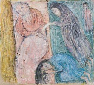 """Лидия Шульгина """"Читая Библию"""" 1987 холст, масло"""